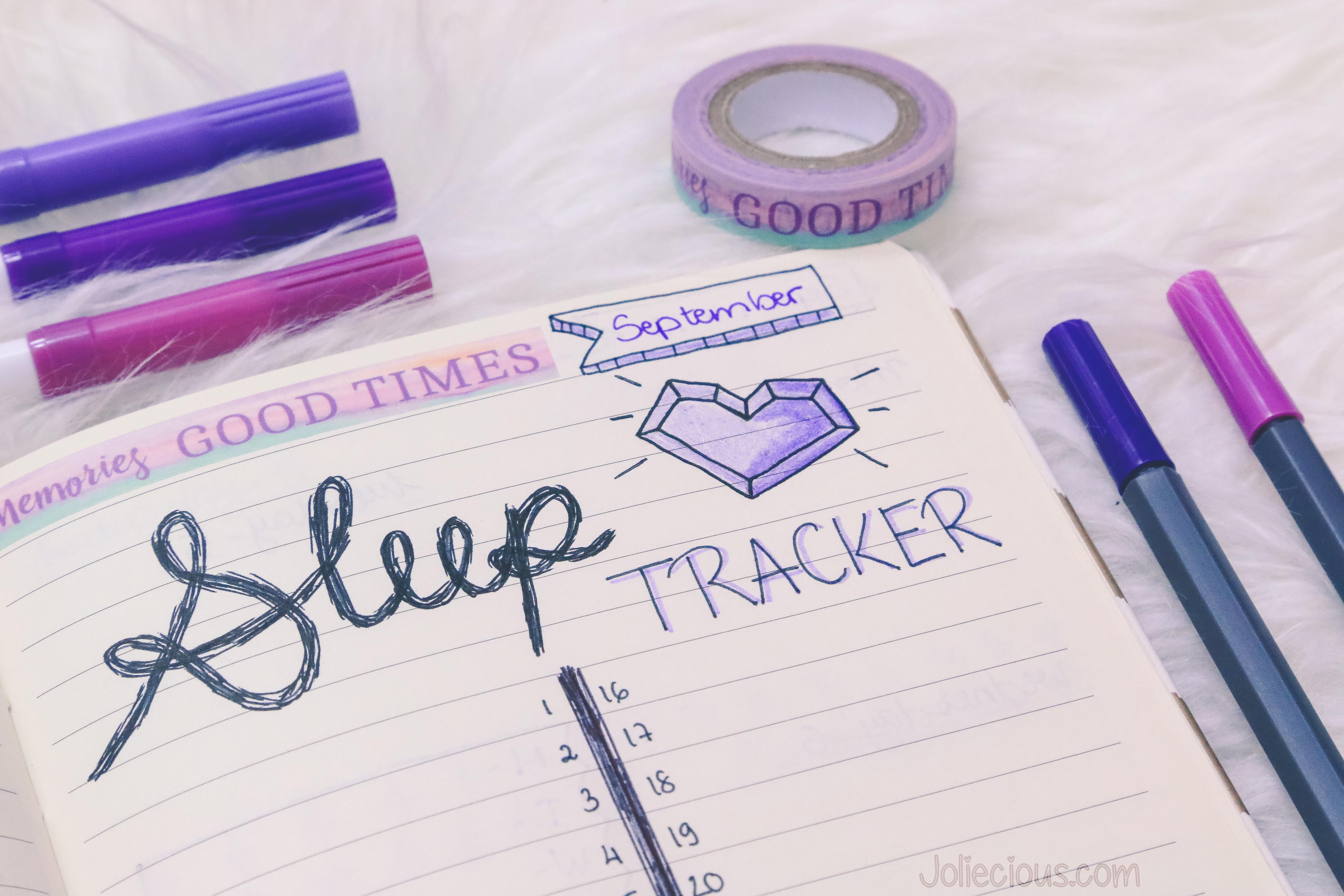 Bullet Journal Setup September 2017 - Sleep Tracker
