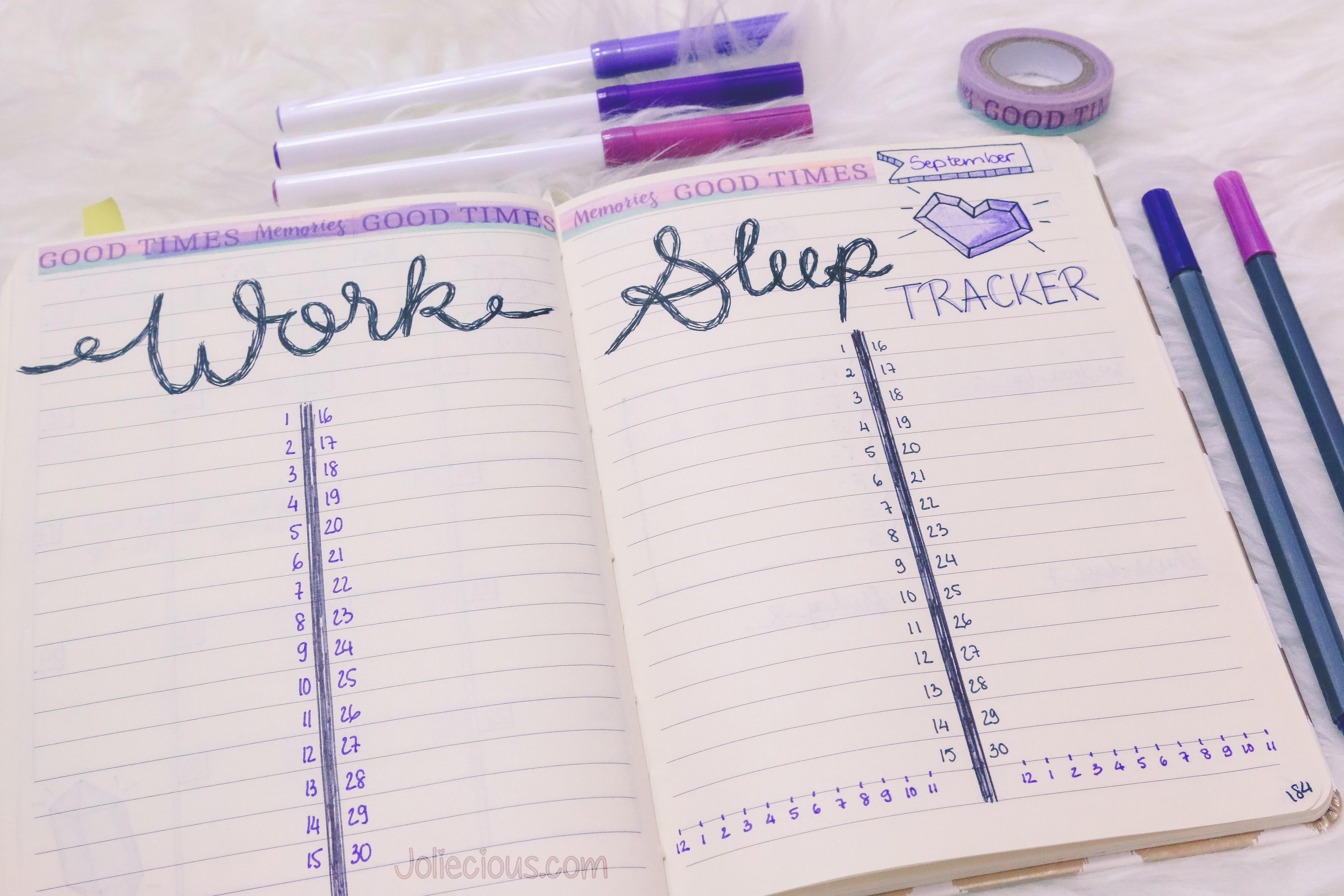 Bullet Journal Setup September 2017 - Tracker