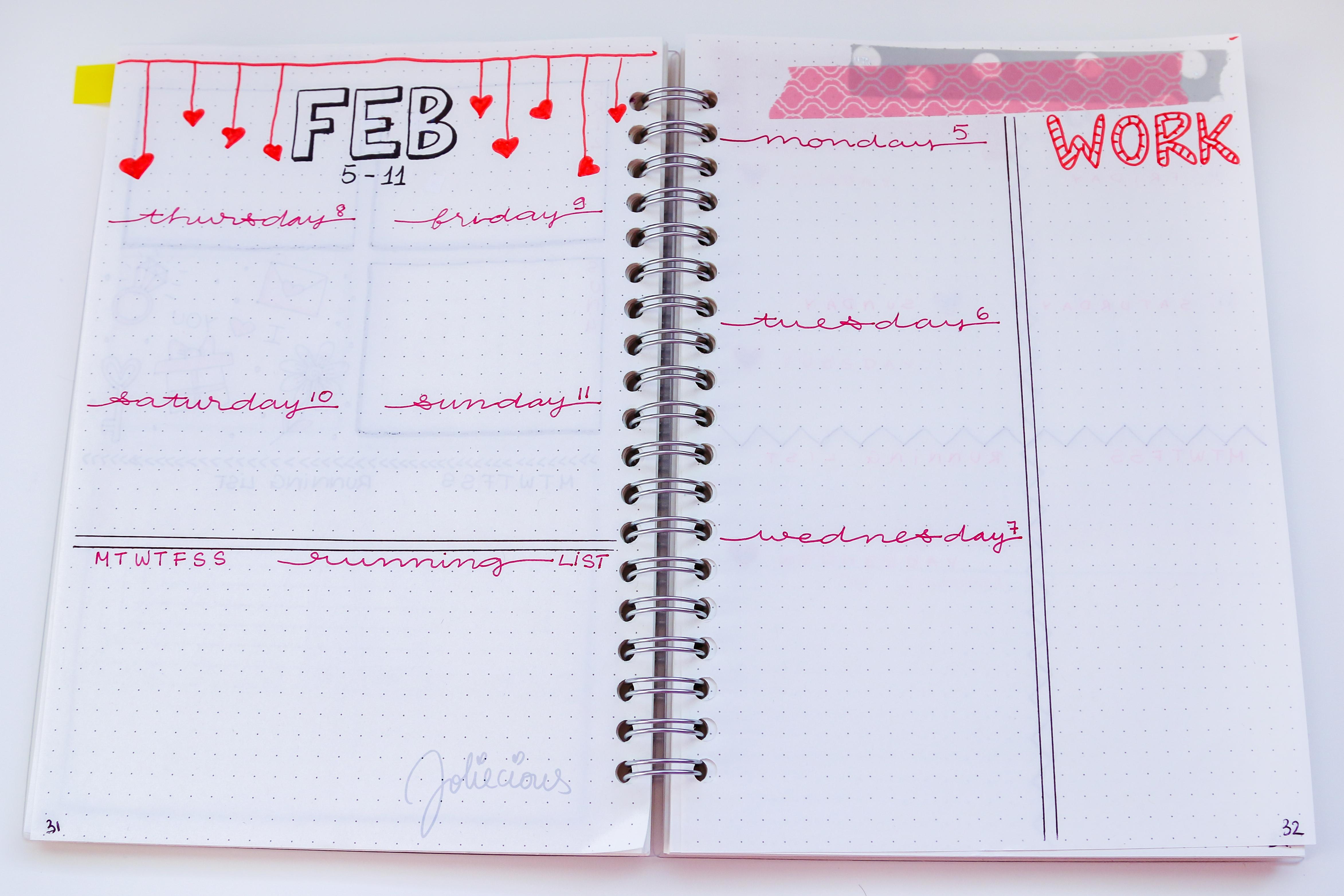 February 2018 Bullet Journal Set Up