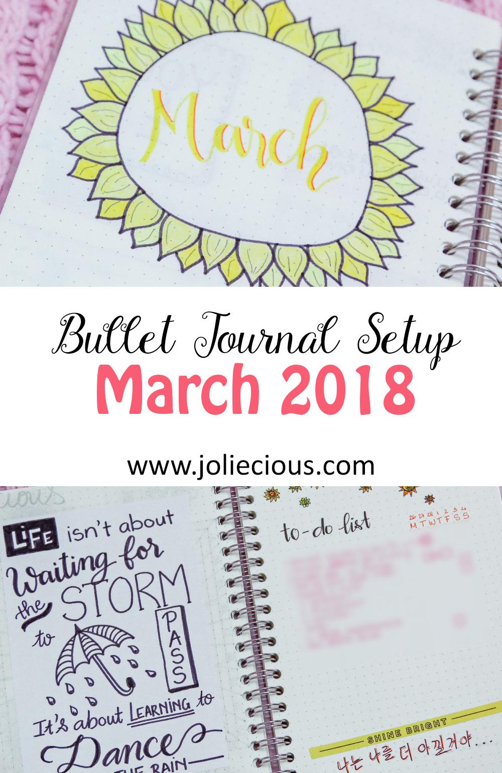 march 2018 bullet journal