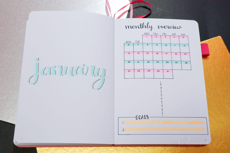 january 2020 bullet journal setup
