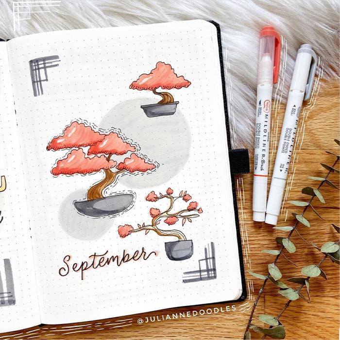 september bullet journal themes