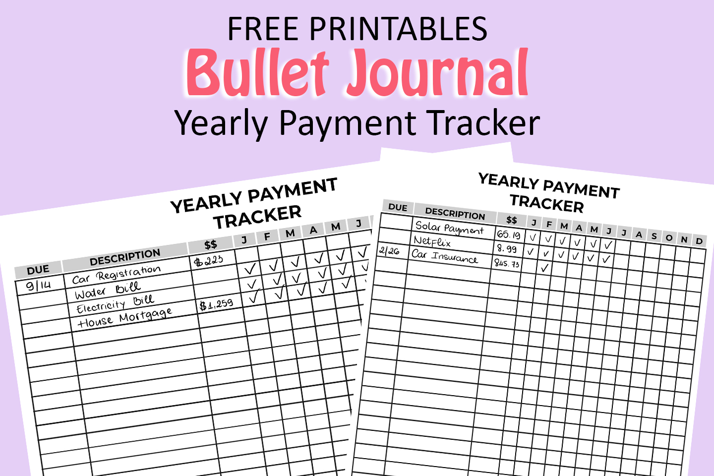 free bullet journal printables - yearly payment tracker
